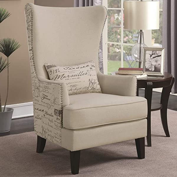 Overstock Modern French Script Design Curved High Back Accent Chair