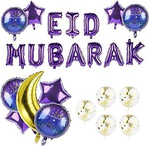 ZIIVARD Eid Mubarak Balloon Set, Mubarak Holiday Party Supplies Moon Star Aluminum Film Balloons With Ramadan Mubarak Letter Banner for Home Muslim Eid Festival, Eid Decoration