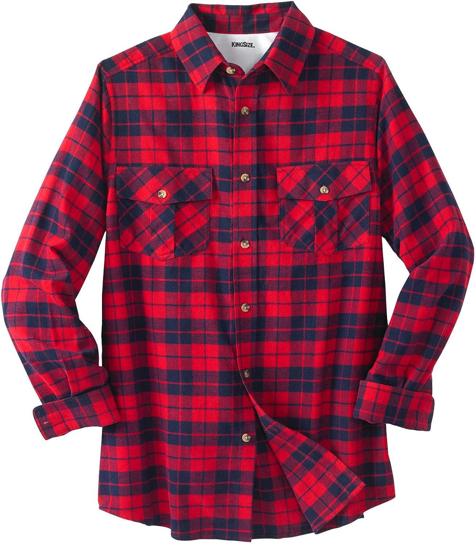 KingSize Mens Big /& Tall Plaid Flannel Shirt
