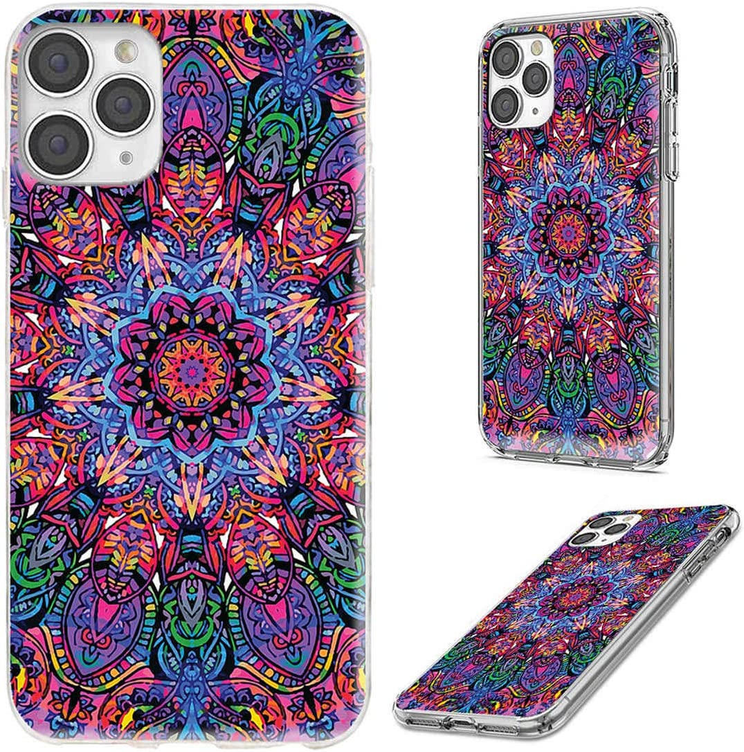 iPhone 11 Pro Max Case,VoMotec Shockproof Slim Flexible Soft TPU 360 Full Protective Clear Thin Phone Cover Cases with Art Design for iPhone 11 XI Pro Max 6.5,Vintage Red Green Blue Mandala