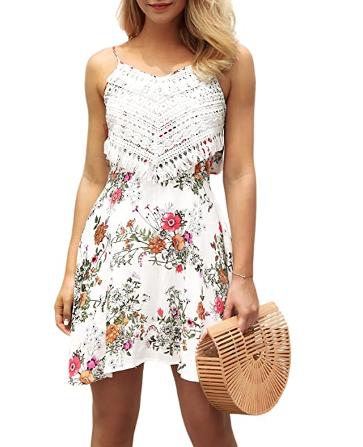 T Seban Womens Floral Dress Bohemian Style Swing Mini Dress Casual Summer Dresses For Wedding Party X Small White