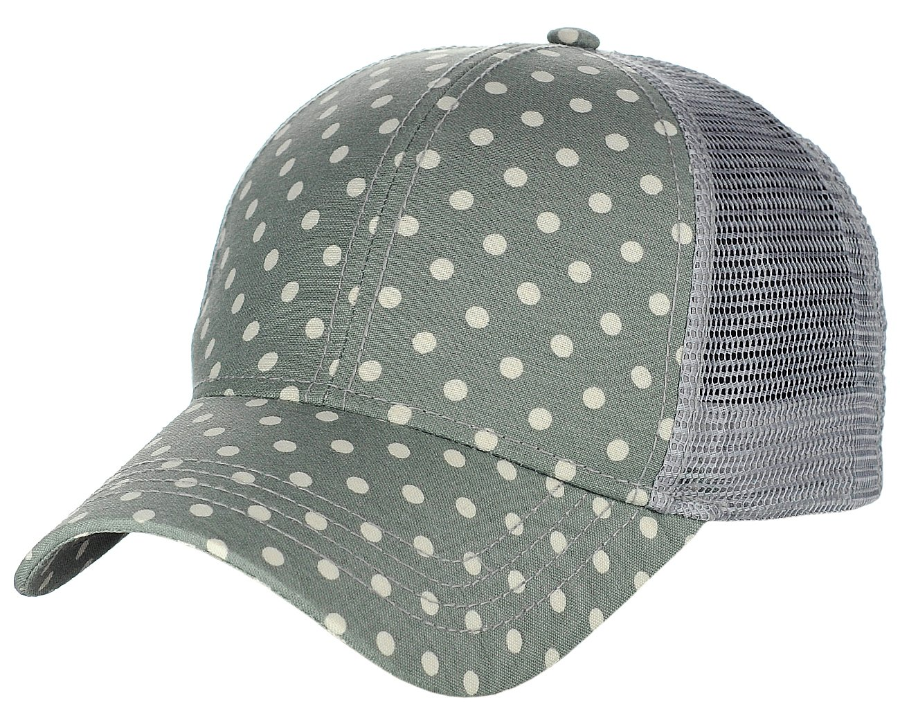 C.C Printed Polka Dotted Pattern Adjustable Mesh Trucker Baseball Cap, Gray