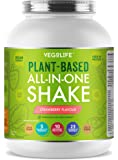 Vegan Protein Powder - Plant Based All-In-One Vegan Shake - Contains 10 Different Fruit & Veg, 23 Vitamins and Minerals, 5 Billion Probiotics and 26g's of Multi-Source Protein - Made in the UK with Wholefood Ingredients - Naturally Flavoured & Sweetened - Keep You And Your Family Health & Happy or Start A New Vegan Diet With Our Delicious Vegan Shakes (Strawberry, 1.1kg)