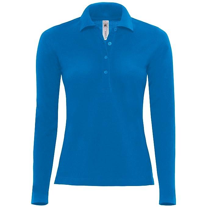 B&C – Polo manga larga 100% algodón – Mujer, azul navy, XL: Amazon ...