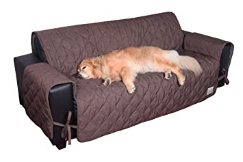 Floppy Ears Design Waterproof Stay in Place Couch Protector Furniture Cover, Chocolate, Large, Three Cushion Couch Size