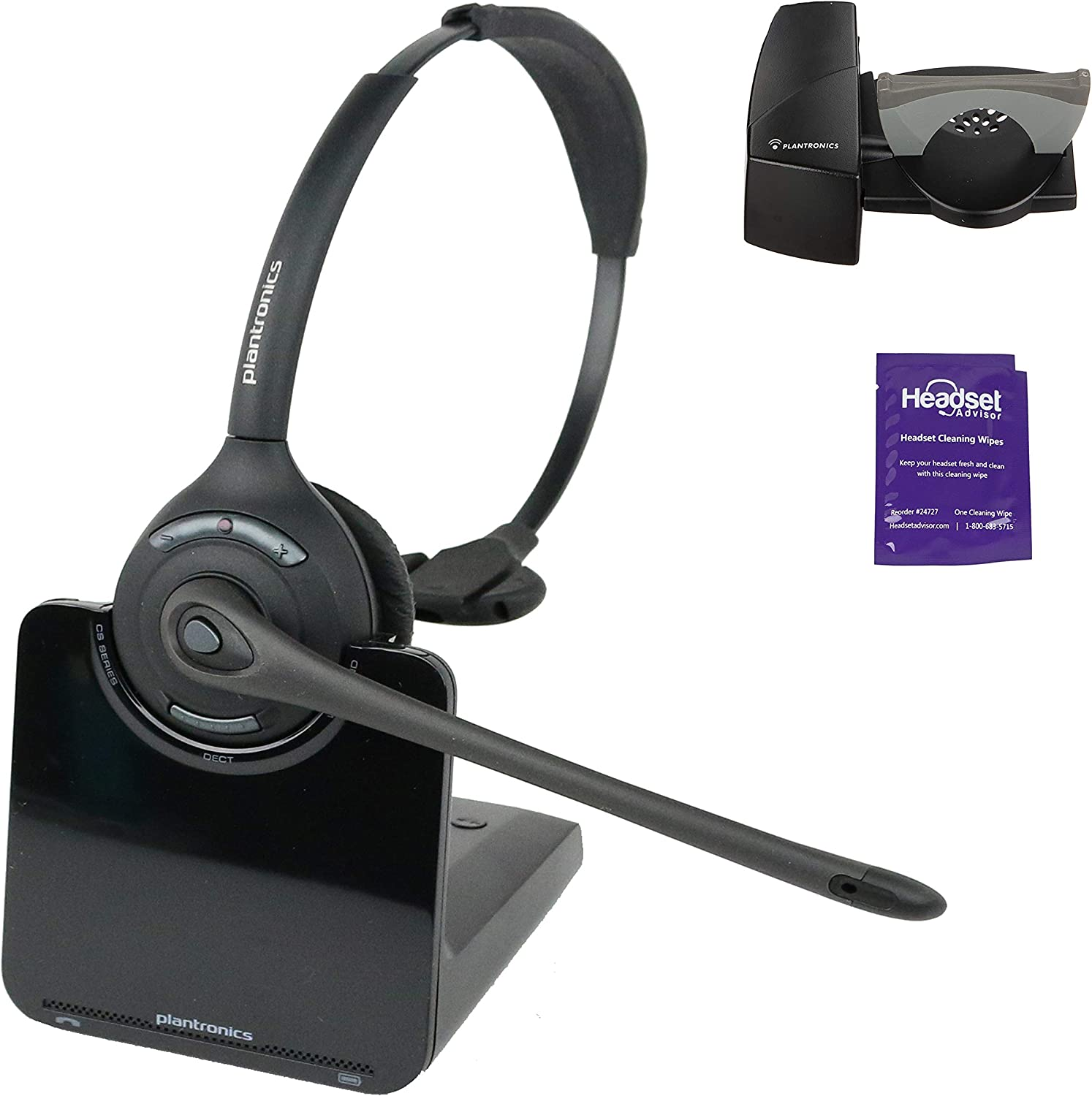 Amazon Com Plantronics Cs510 Wireless Headset System Bundle With Lifter And Headset Advisor Wipe Renewed Office Products