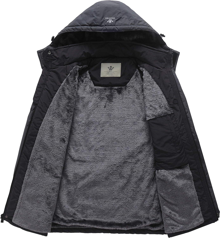 WenVen Mens Waterproof Ski Jacket Windproof Fleece Liner Insulated Rain Coat