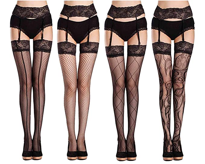 a177f9890 Amazon.com  Abberrki Womens Sexy Lace Garter Belt Stockings Sets Fishnet  Tights Plus Size (Black- 4 packs)  Clothing