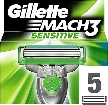 Gillette Mach 3 Cuchillas de Recambio para Maquinilla de Afeitar Piel Sensible 5 Unidades: Amazon.es: Salud y ...