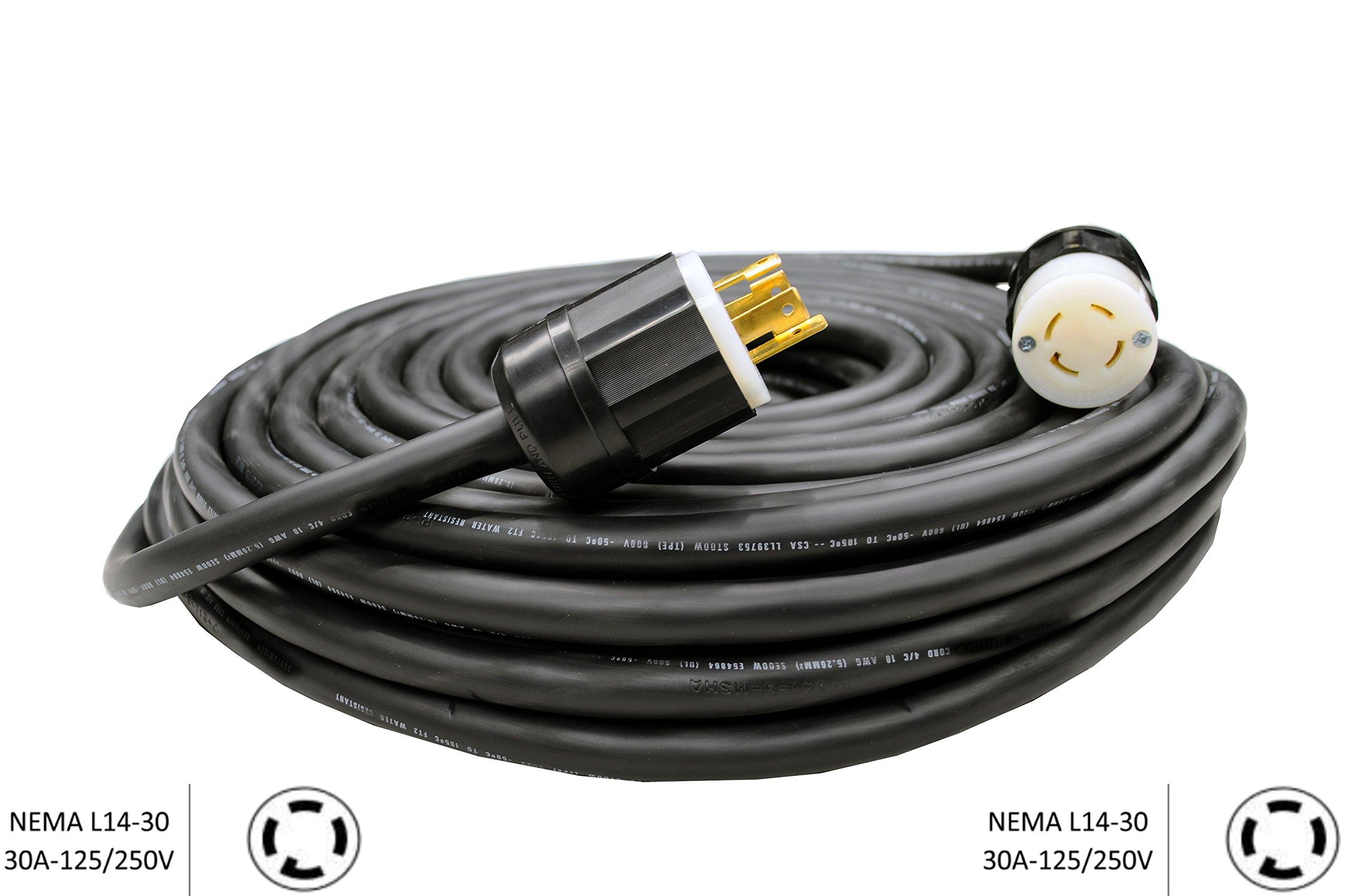 NEMA L14-30 Generator Extension Cord - 30A, 125/250V, 10/4 SOOW (100 Ft.)
