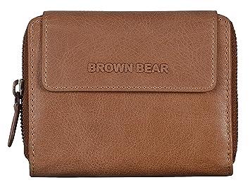 136ce173d0c24 Brown Bear Geldbörse Damen Leder Braun groß viele Facher RFID Schutz  Reißverschluss hochwertig Camel Vintage Design