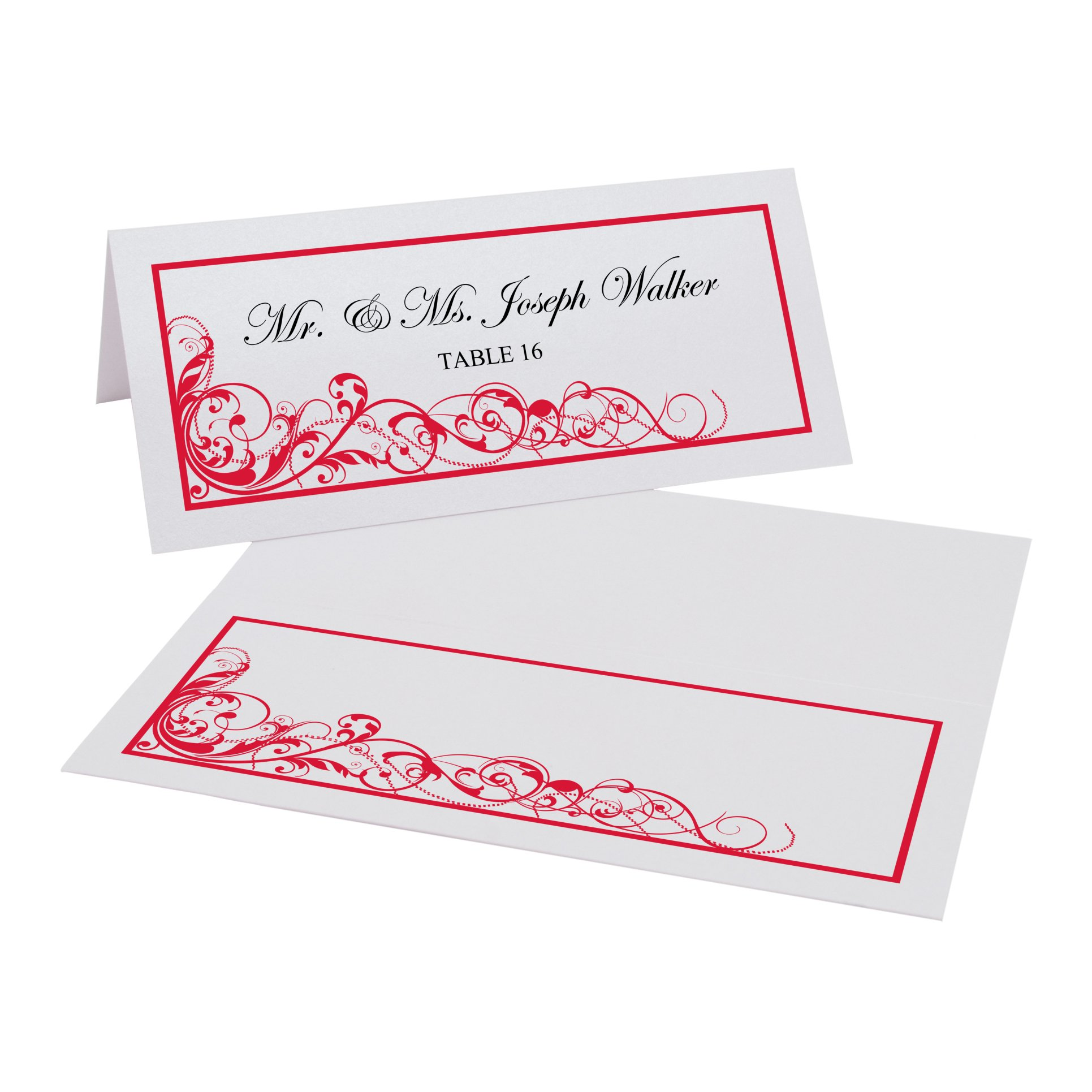 Scribble Vintage Swirl Easy Print Place Cards, Pearl White, Ruby Red, Set of 450 (113 Sheets) by Documents and Designs