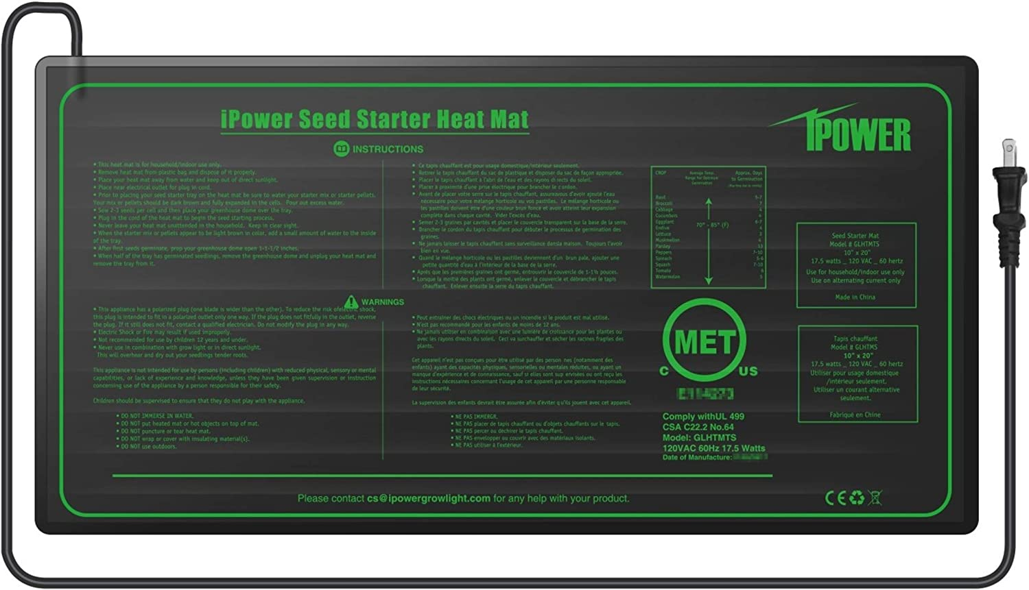 "iPower GLHTMTS-A 10"" x 20.5"" Waterproof Durable Seedling Heat Mat Warm Hydroponic Plant for Indoor Gardening Germination Starting, Black"