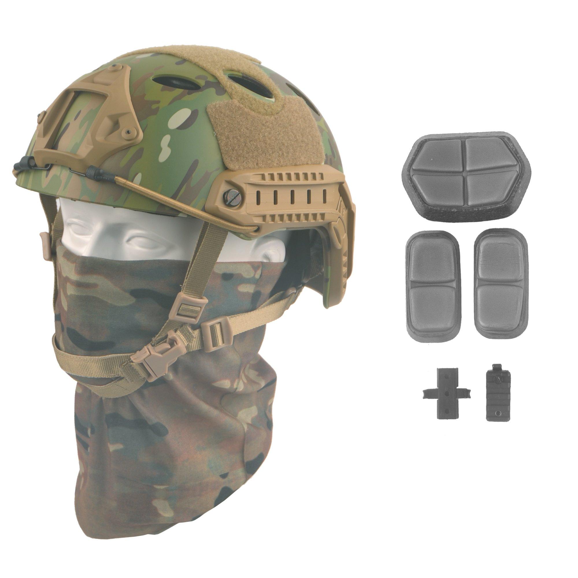 LOOGU Fast PJ Base Jump Military Helmet with 12-in-1 Headwear(MC) by LOOGU