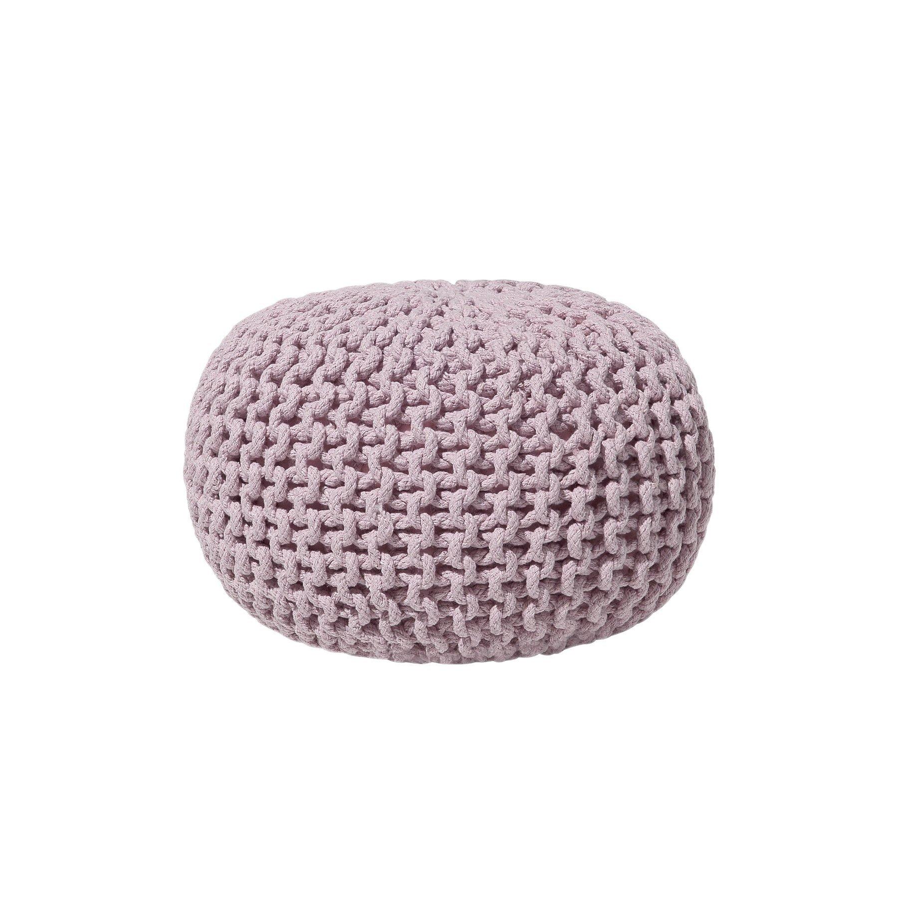 Beliani Modern Knitted Round Pouf Ottoman Soft Cotton Pink 16-inch Conrad