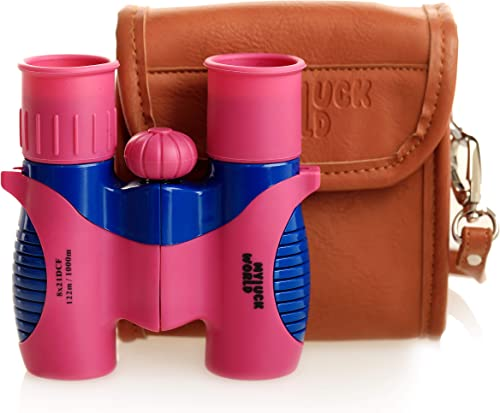 Binoculars for Kids 8×21 High-Resolution Shock-Proof Real Optics – Pu-Leather Crossbody Bag – for Bird Watching Outdoor Camping Hunting Hiking Star Gazing – Best Gift for Children- Present Pink
