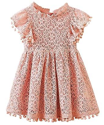 da030372d93 2Bunnies Girl Baby Girl Vintage Lace Pom Pom Trim Birthday Party Dress (Dusty  Pink