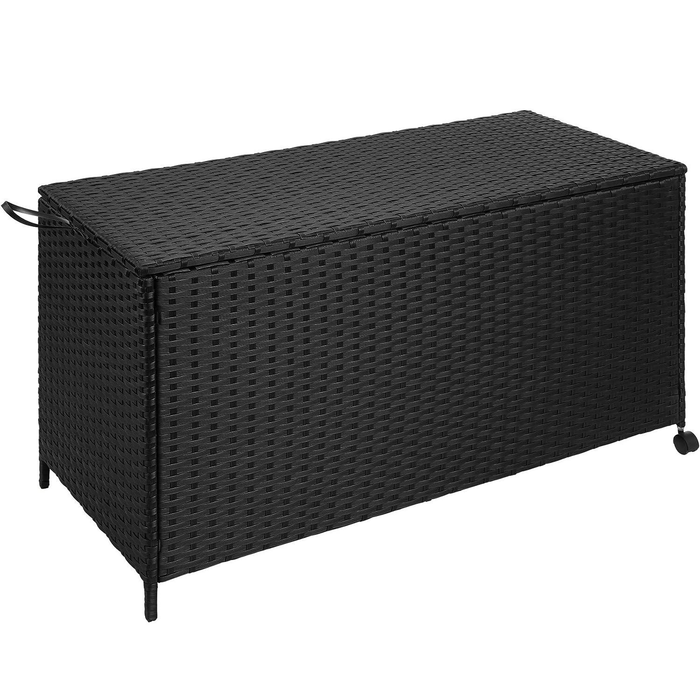 TecTake Rattan Auflagenbox Garten Kissenbox rollbar   wetterfestes wetterfestes wetterfestes Aluminiumgestell   mit Gasdruckstoßdämpfer   117x54,5x65cm   schwarz 25c637