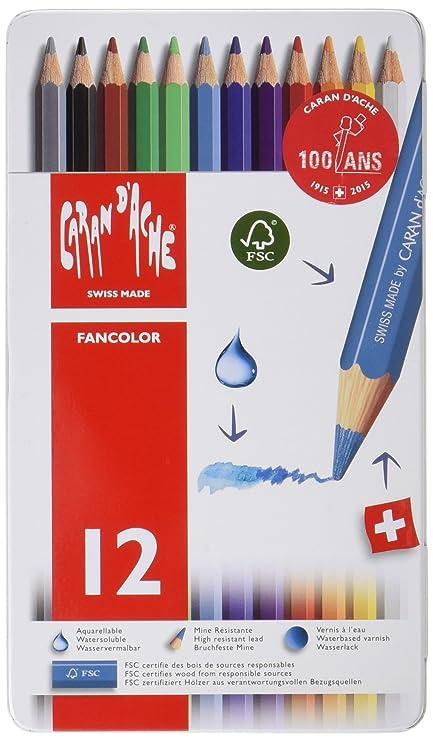 amazon com caran d ache fancolor color pencils 12 colors