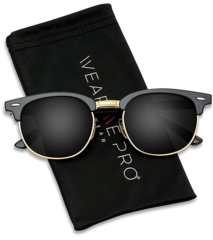 d1cf0d719c670 Amazon.com  Polarized Clubmaster Classic Half Frame Semi Rimless Rimmed  Sunglasses  Clothing