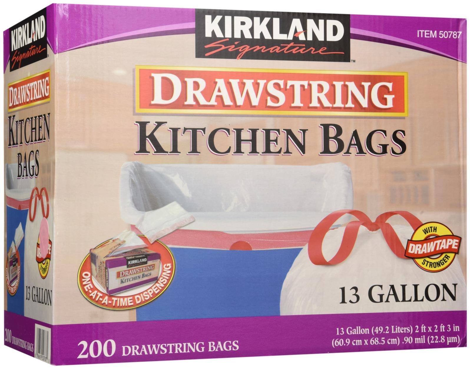 Kirkland Signature Drawstring Kitchen Trash Bags