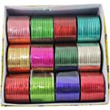 Muchmore 12 Colored Of Indian Plain Multicolor Metal Bangle Set For Women (2.80 In)