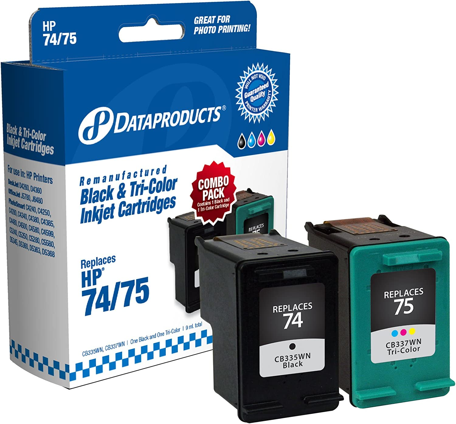 Dataproducts DPC7475 Remanufactured Ink Cartridge Replacement for HP #74/75 (Combo Pack - Black & Tri-Color)