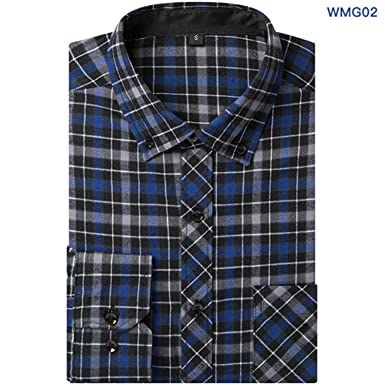 7d08671bb0a Sonjer 2018 New Men s Plaid Flannel Shirt Slim Fit Soft Comfortable ...