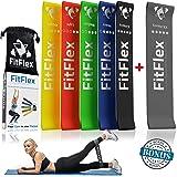 FITFLEX Set 6 Fasce Elastiche Fitness di nuova generazione per Fisioterapia Stretching Palestra in casa Yoga Pilates Crossfit Gym workout Elastici Fitness Resistenza Doppio Spessore & Esercizi
