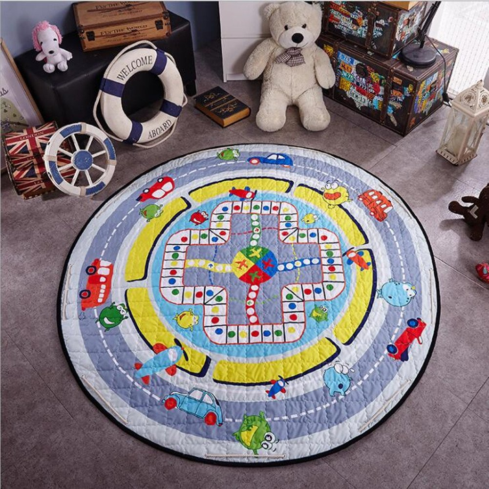 Cartoon Round Baby Crawling Mat-Judy Dre am Round Kids' Room Rug,Toys Storage Organizer Bag,Large Anti-slip Cartoon Animal Children's Floor Mat Bedroom Area Rug 59x59 Inch