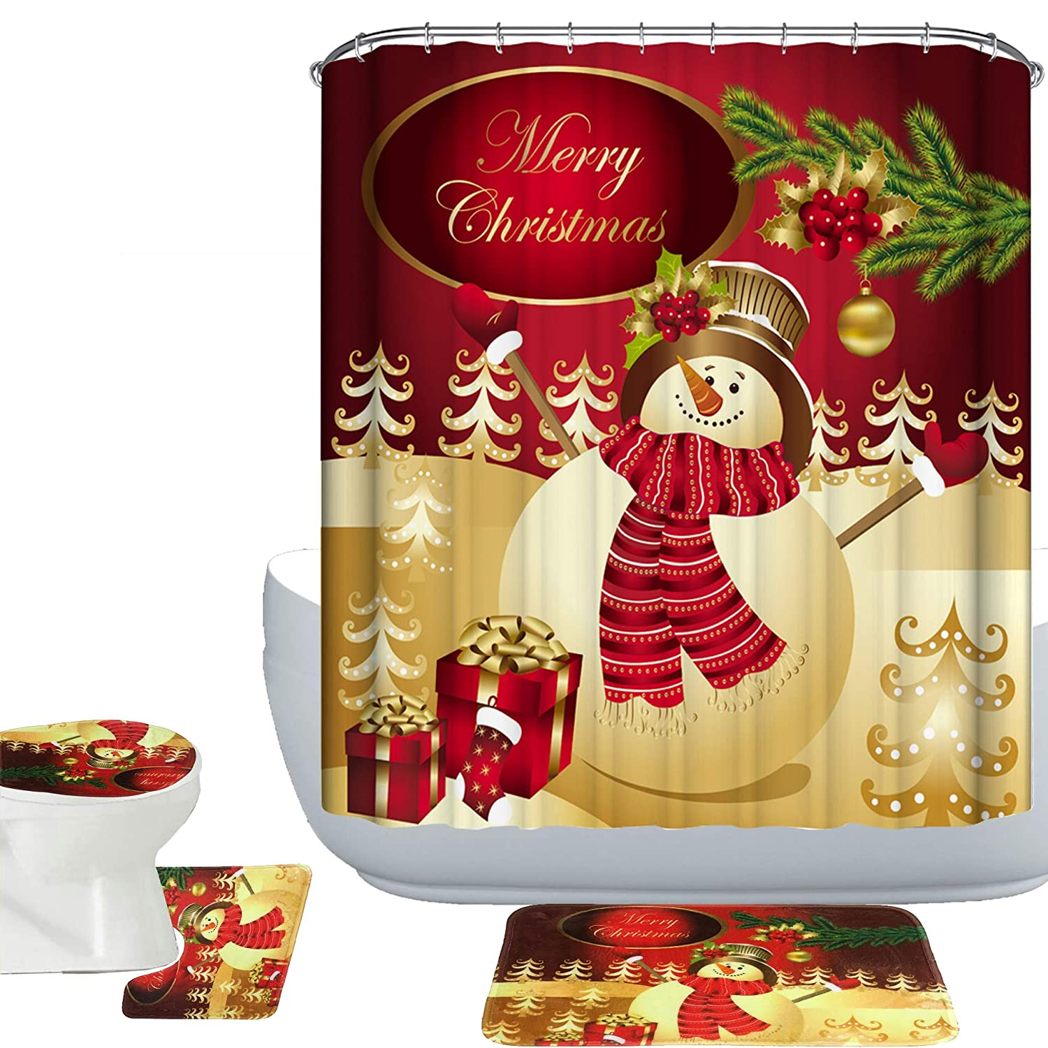 Amagical Merry Christmas Lovely Golden Snow Man Pattern 16 Piece Bathroom Mat Set Shower Curtain Set Bath Mat Contour Mat Toilet Cover Fabric Shower Curtian 12 Hooks