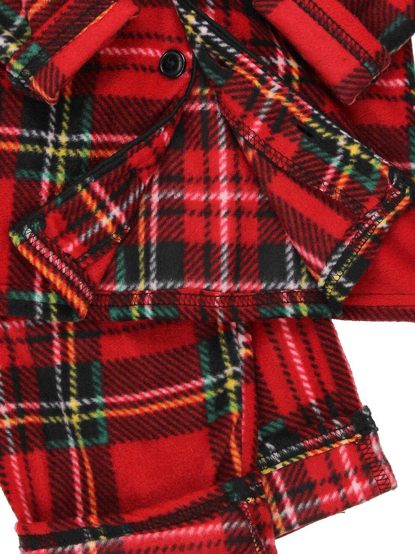 Komar Kids Boys Traditional Holiday Christmas Plaid Coat Style Pajamas Set manufacturer