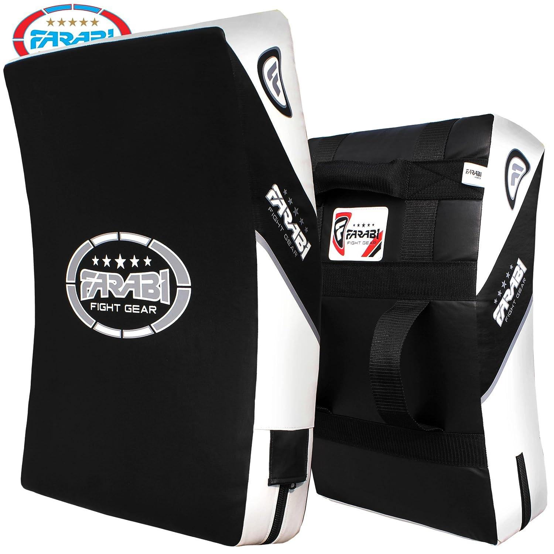Farabi Kick Shield Strike Thai Pad - Bloc Curvado para Entrenamiento de Artes Marciales Mixtas (MMA), Color Negro y Blanco Farabi Sorts Kick Shield Black Red