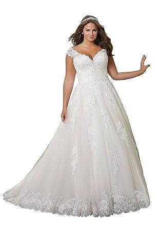 DUMOO Women\'s A line Lace Wedding Dresses Plus Size Long with Straps ...