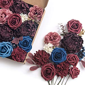 Ling's moment Classical Burgundy Navy Blue Artificial Flowers Box Set for DIY Fall Wedding Bouquets Centerpieces Arrangements Party Baby Shower Home Decorations