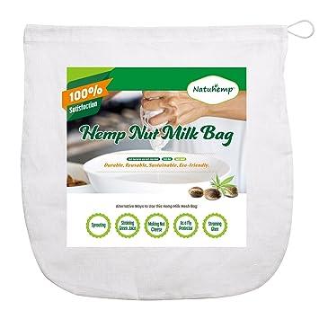 Cáñamo orgánicos natuhemp tuerca leche bolsa filtros de gamuza de queso varios alimentos de uso: Amazon.es: Hogar