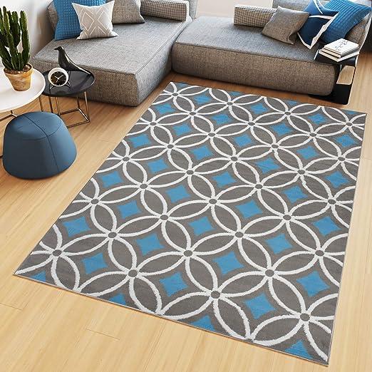 Tapiso Maya Tapis de Salon Chambre Ado Design Moderne Bleu ...