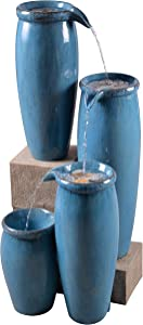 Kenroy Home Classic Indoor/Outdoor Floor Fountain ,36 Inch Height, 15.5 Inch Width, 14.5 Inch Ext. with Textured Blue Finish