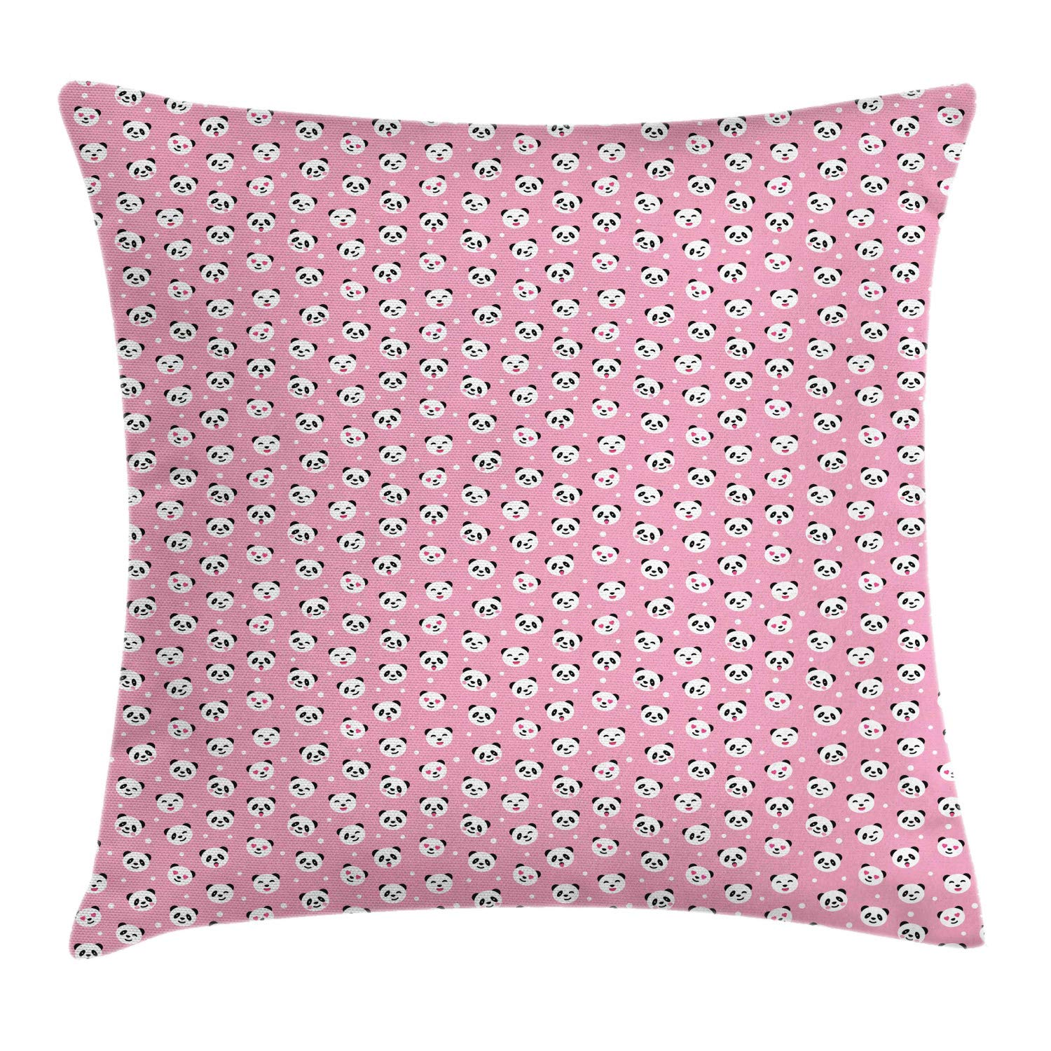 Lunarable Panda Throw Pillow Cushion Cover, Continuous Nursery Pattern of Animal with Funny Expressions Repeated, Decorative Square Accent Pillow Case, 24'' X 24'', Pink Charcoal Grey White by Lunarable