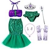 Princess Mermaid Green Dress Costumes for Toddler Little Girls with Headband,Crown,Mace,Gloves,Necklace,Earrings