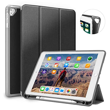 bcdbae48ab03 iPad 5th 6th Generation Cases With Pencil Holder, iPad 9.7 2017 2018 Rugged  Protective Shockproof Case,Durable Leather Smart Trifold Stand With TPU ...