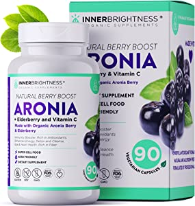 Inner Brightness Organic Aronia Berry Capsules Enriched with Elderberry, Max Absorption Cell Food with Immunity Support Antioxidants and Advanced Formula 1500mg, Gluten-Free, Keto, 90 Vcaps