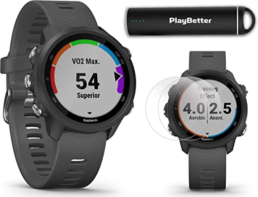 Garmin Forerunner 245 (Slate Gray) Running GPS Watch Power Bundle | +HD Screen Protectors & PlayBetter Portable Charger | Advanced Analytics, Heart Rate, PulseOx 2019 010-02120-00