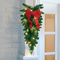 BrylaneHome Christmas 24″ Vertical Teardrop Swag, Green