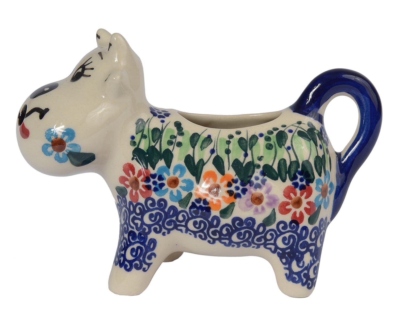 j.401 Cranberry Collection Boleslawiec Style modello realizzato a mano in ceramica a forma di mucca crema o lattiera 125/ml Tradizionale in ceramica polacca