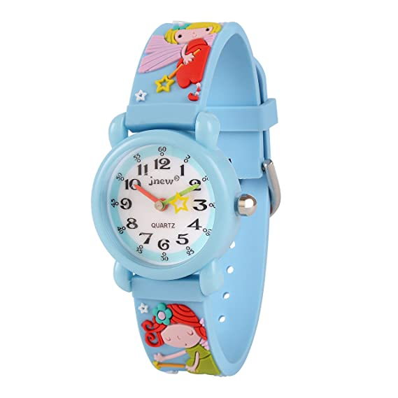 Neihou Colegio Niña reloj analógico de cuarzo con esfera redonda de segunda mano Lindo 3D Magic Fairy en banda reloj encantador de niñas pequeñas Azul ...