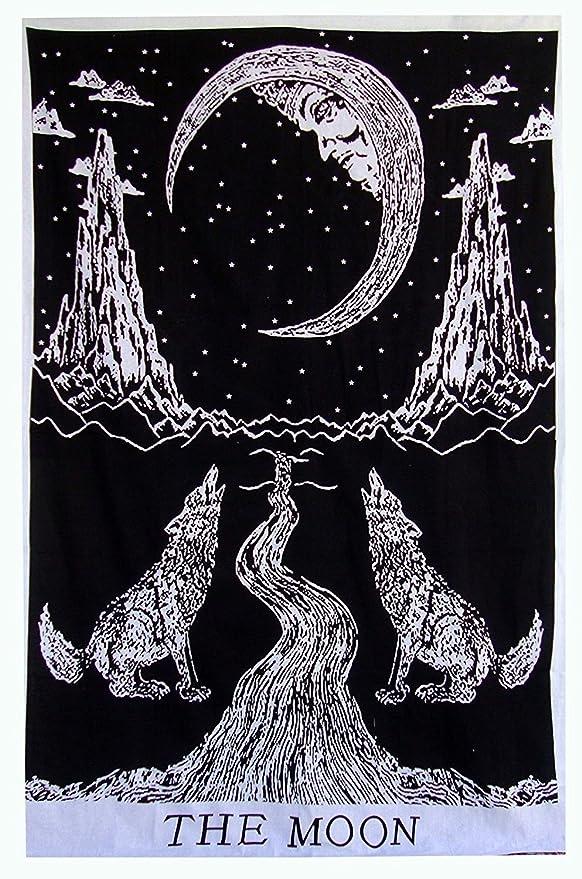 1 opinioni per Arazzo da parete con motivo: lupo che piange alla luna, bohémien, lenzuolo,