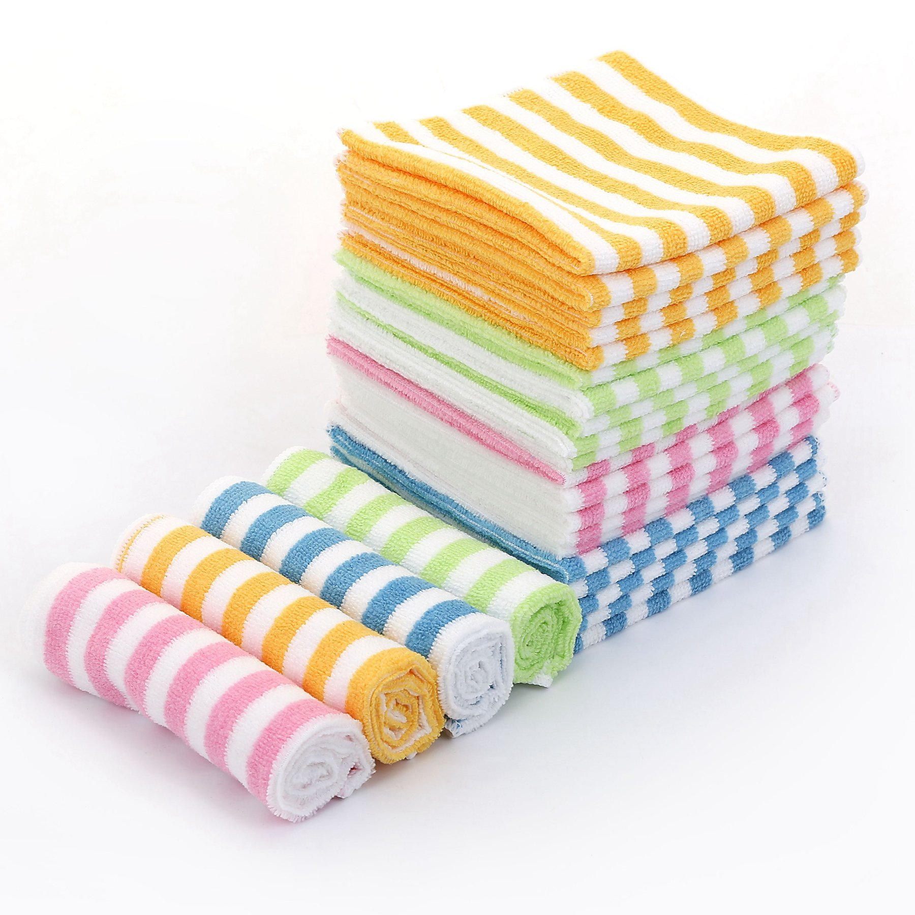 """Microfiber Cleaning Cloth – HijiNa, Pack of 50, Size 12""""x12"""", for cleaning tasks in the Kitchen, Bathroom, Dining Room and More (Bar - 4 Color Pack of 50)"""