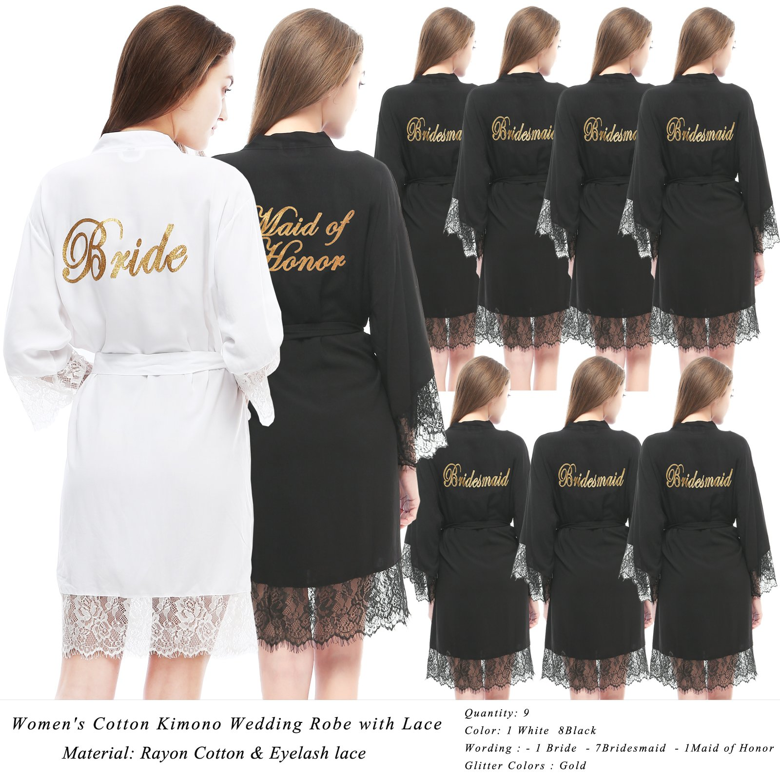 PROGULOVER Set Of 9 Bridesmaid Robes For Wedding Cotton Kimono Bridal Party Getting Ready Robe With Blush Gold Glitter Maid Of Honor Robes