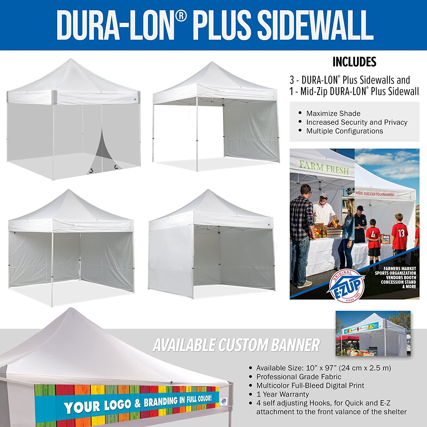 10 by 10 White Pack of 4 E-Z UP ES100S Instant Shelter Canopy